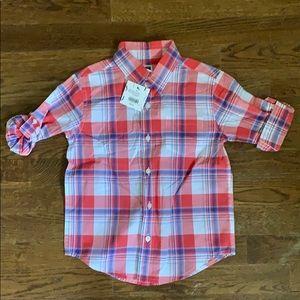 NWT Janie & Jack plaid button down shirt